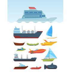 Modern sea ships and boats flat set vector
