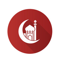 Mosque with ramadan moon flat design long shadow vector
