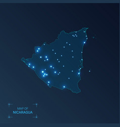 nicaragua map with cities luminous dots - neon vector image