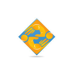 people business hand teamwork icon logo vector image