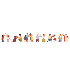 People giving high five friends and couples set vector