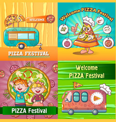 pizza festival food banner concept set cartoon vector image