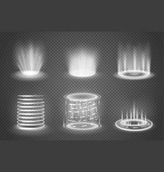 Realistic magic portals transparent set vector