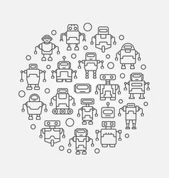 Robots round circular symbol vector