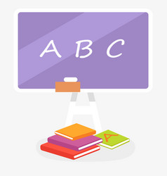 school violet blackboard with abc and books nearby vector image