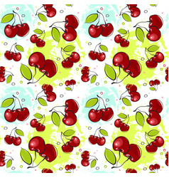 Seamless pattern cherry fruits summer ornament vector