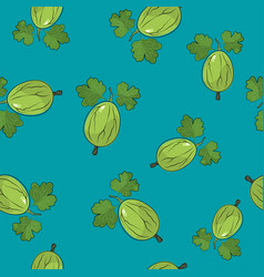 seamless pattern gooseberry on azure background vector image