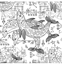 Seamless pattern with three dolphins vector