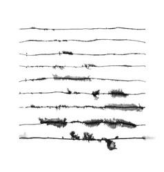 Set nine runny ink art brushes vector