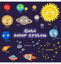 Set of cute solar system vector