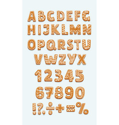 set of gingerbread cookies abc numbers signs vector image