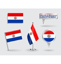 Set of Paraguayan pin icon and map pointer flags vector