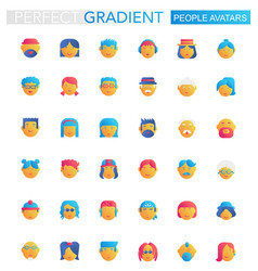 set trendy flat gradient people avatars vector image