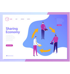 sharing economy landing page web concept vector image