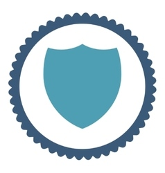Shield flat cyan and blue colors round stamp icon vector