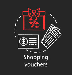 Shopping vouchers concept chalk icon referral vector