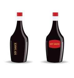 Soy sauce in a glass bottle vector