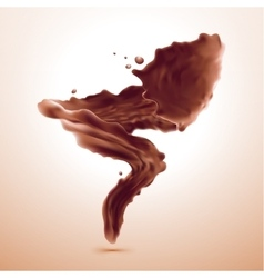 splash of brownish hot coffee or chocolate vector image