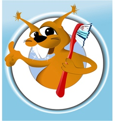 Squirrel cleaning teeth vector