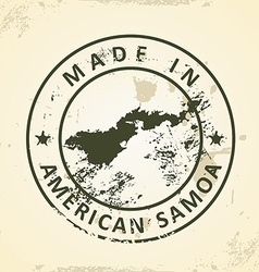 Stamp with map of american samoa vector