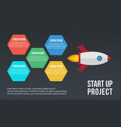 Step concept with rocket business infographic vector