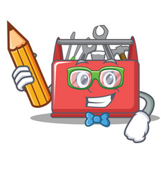Student tool box character cartoon vector