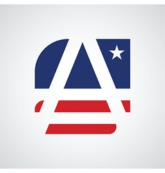 Stylized letter A as American flag vector image
