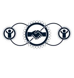 successful business creative logo handshake deal vector image