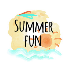 Summer fun poster with abstract sky and sea water vector
