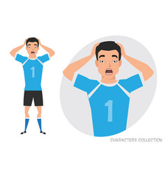 Surprised shocked asian man soccer player vector