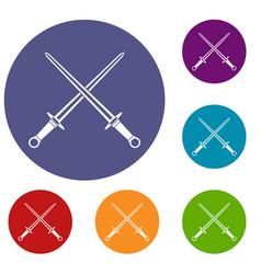 Swords icons set vector
