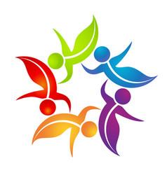 team of dancing leaf figure people logo vector image