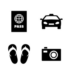 tourism vacation simple related icons vector image
