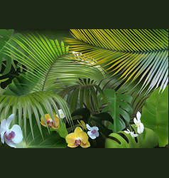 Tropical background with photorealistic vegetation vector