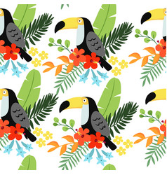 Tropical jungle seamless pattern with toucan bird vector