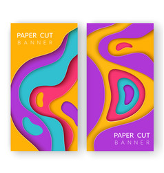 two vertical abstract banners with multi colored vector image
