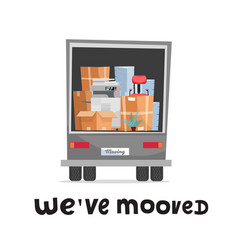 We ve moved hand lettering concept office vector