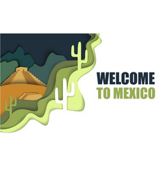 Welcome to mexico poster paper cut vector