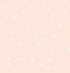 white geometric doodles on light pink background vector image