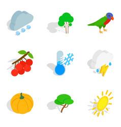 wildlife icons set isometric style vector image