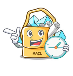 With clock the bag with shape mail cartoon vector