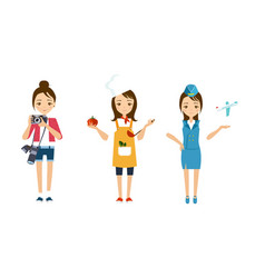 women of different professions set photographer vector image