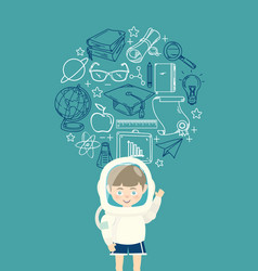 Young boy in an astronaut suit with education icon vector