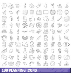 100 planning icons set outline style vector image vector image