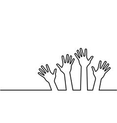 Black line of hands vector