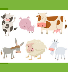 cartoon farm animal characters set vector image vector image