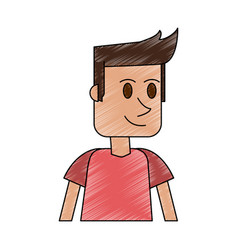 color pencil cartoon closeup half body guy with t vector image vector image