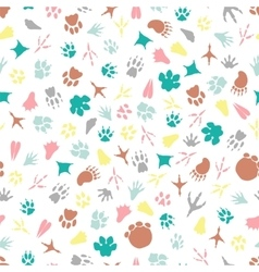 Colorful animal footprints seamless pattern vector image