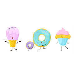 cute sweet cartoon food icons set vector image vector image
