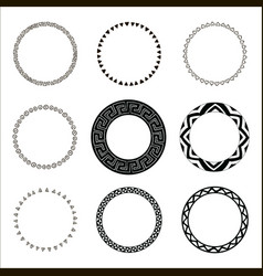 hand drawn ethnic circles ink collection of vector image